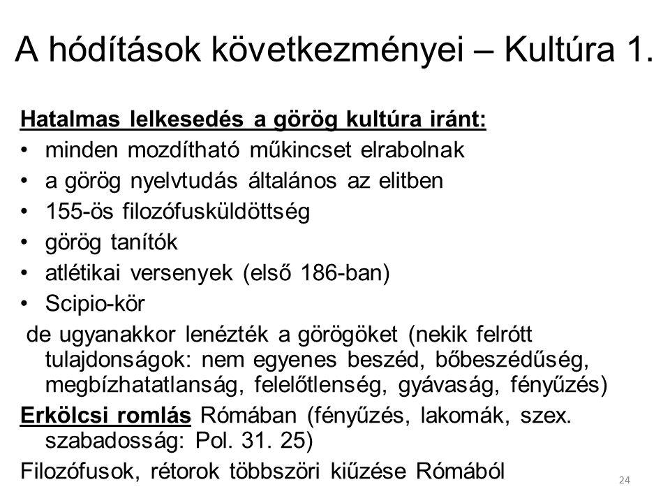 24 A hódítások következményei – Kultúra 1. Hatalmas lelkesedés a görög kultúra iránt: minden mozdítható műkincset elrabolnak a görög nyelvtudás általá