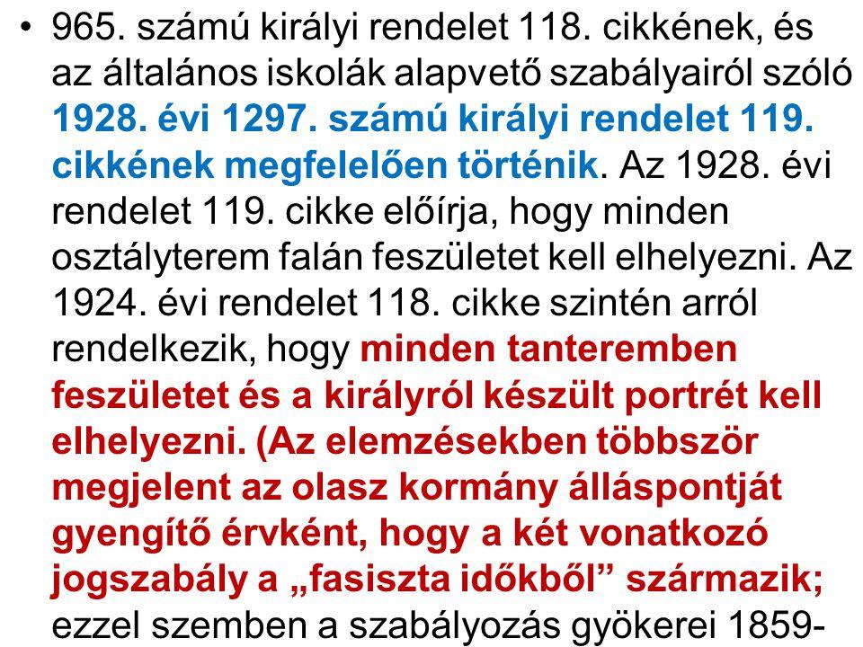 965. számú királyi rendelet 118.