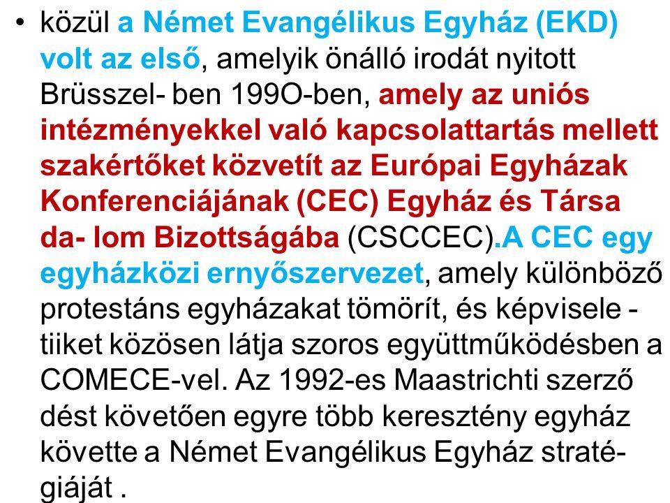 közül a Német Evangélikus Egyház (EKD) volt az első, amelyik önálló irodát nyitott Brüsszel- ben 199O-ben, amely az uniós intézményekkel való kapcsolattartás mellett szakértőket közvetít az Európai Egyházak Konferenciájának (CEC) Egyház és Társa da- lom Bizottságába (CSCCEC).A CEC egy egyházközi ernyőszervezet, amely különböző protestáns egyházakat tömörít, és képvisele - tiiket közösen látja szoros együttműködésben a COMECE-vel.