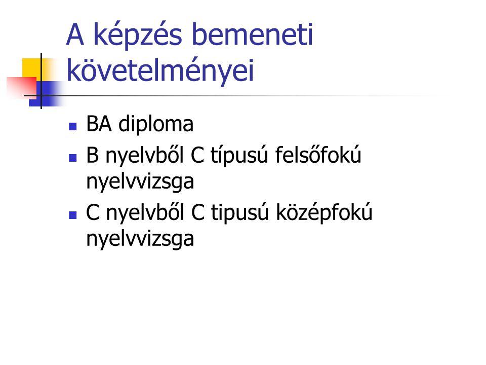 A képzés bemeneti követelményei BA diploma B nyelvből C típusú felsőfokú nyelvvizsga C nyelvből C tipusú középfokú nyelvvizsga