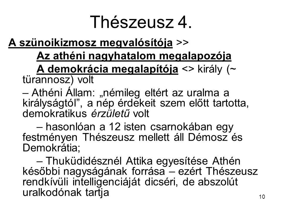 10 Thészeusz 4. A szünoikizmosz megvalósítója >> Az athéni nagyhatalom megalapozója A demokrácia megalapítója <> király (~ türannosz) volt – Athéni Ál