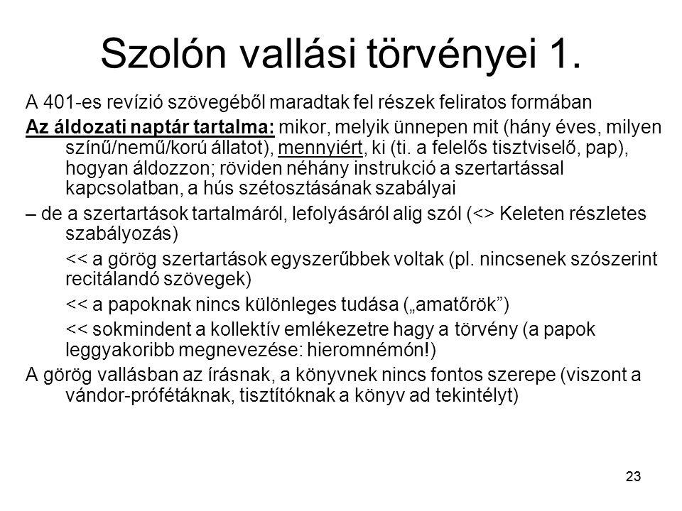 23 Szolón vallási törvényei 1.