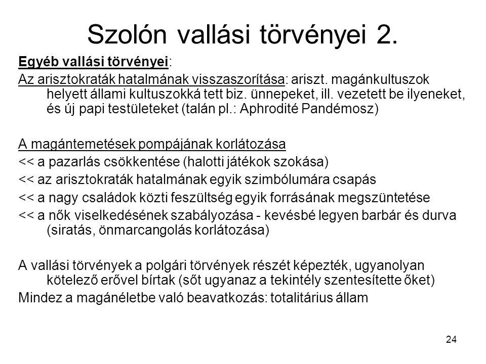 24 Szolón vallási törvényei 2.