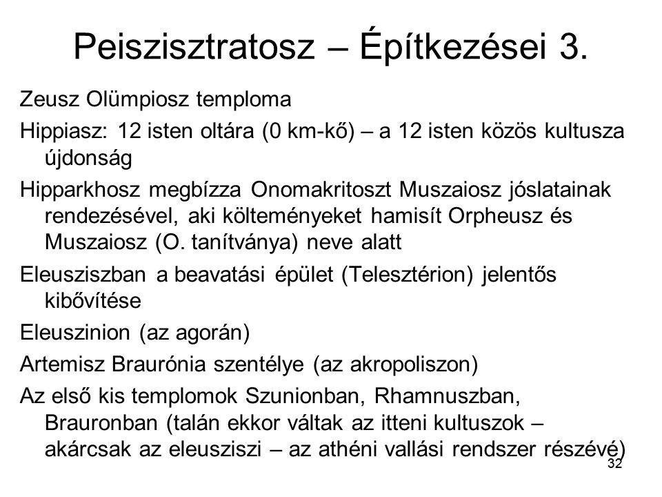 32 Peiszisztratosz – Építkezései 3. Zeusz Olümpiosz temploma Hippiasz: 12 isten oltára (0 km-kő) – a 12 isten közös kultusza újdonság Hipparkhosz megb