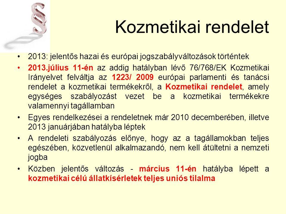 Kozmetikai rendelet 2013: jelentős hazai és európai jogszabályváltozások történtek 2013.július 11-én az addig hatályban lévő 76/768/EK Kozmetikai Irányelvet felváltja az 1223/ 2009 európai parlamenti és tanácsi rendelet a kozmetikai termékekről, a Kozmetikai rendelet, amely egységes szabályozást vezet be a kozmetikai termékekre valamennyi tagállamban Egyes rendelkezései a rendeletnek már 2010 decemberében, illetve 2013 januárjában hatályba léptek A rendeleti szabályozás előnye, hogy az a tagállamokban teljes egészében, közvetlenül alkalmazandó, nem kell átültetni a nemzeti jogba Közben jelentős változás - március 11-én hatályba lépett a kozmetikai célú állatkísérletek teljes uniós tilalma