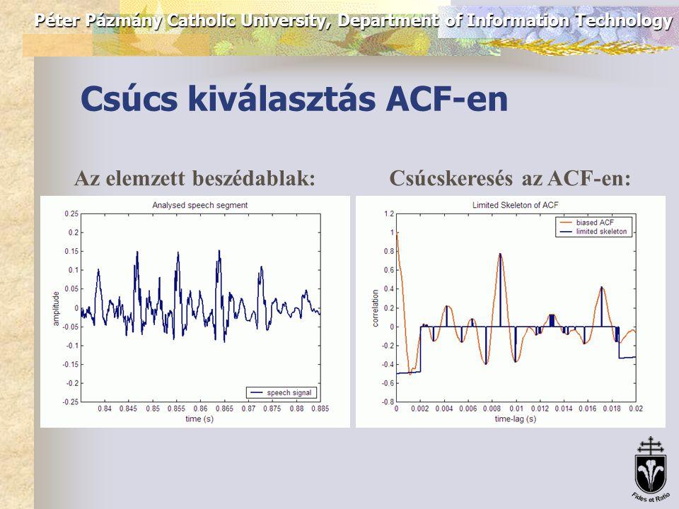 Péter Pázmány Catholic University, Department of Information Technology Algoritmusok: ACF Auto Correlation Function (autokorreláció függvény): s(t) – a beszédjel; w – az elemzett ablak hossza