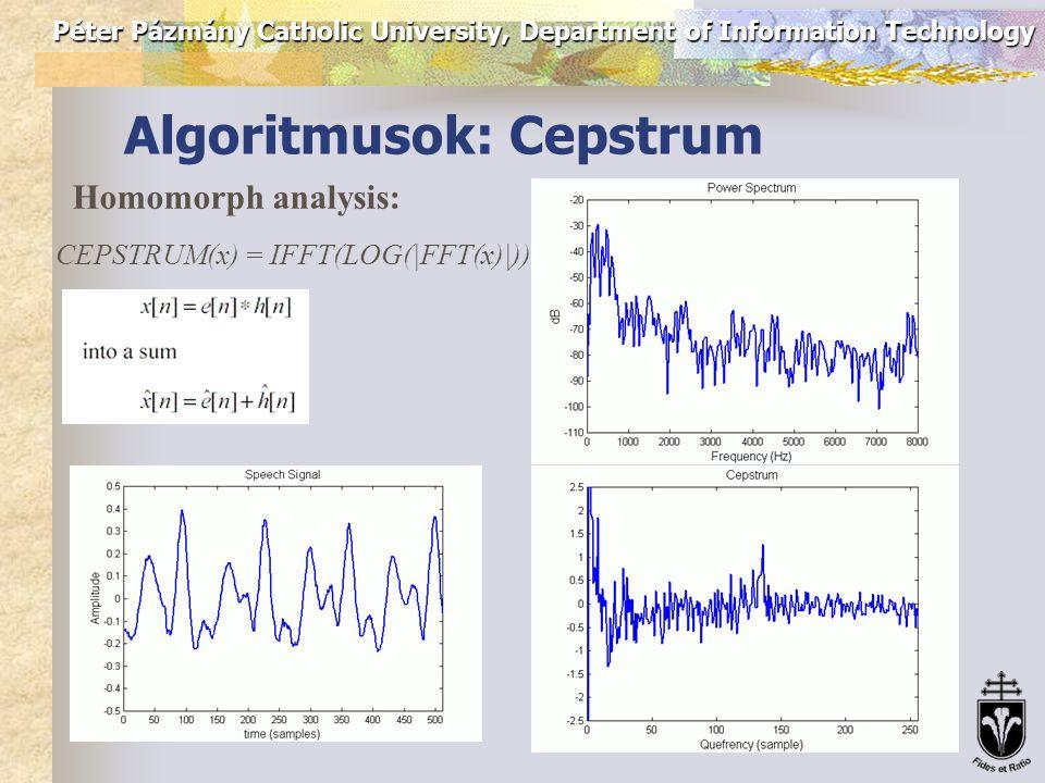 Péter Pázmány Catholic University, Department of Information Technology Algoritmusok: AMDF Average Magnitude Difference Function: s(t) – a beszédjel; w – az elemzett ablak hossza