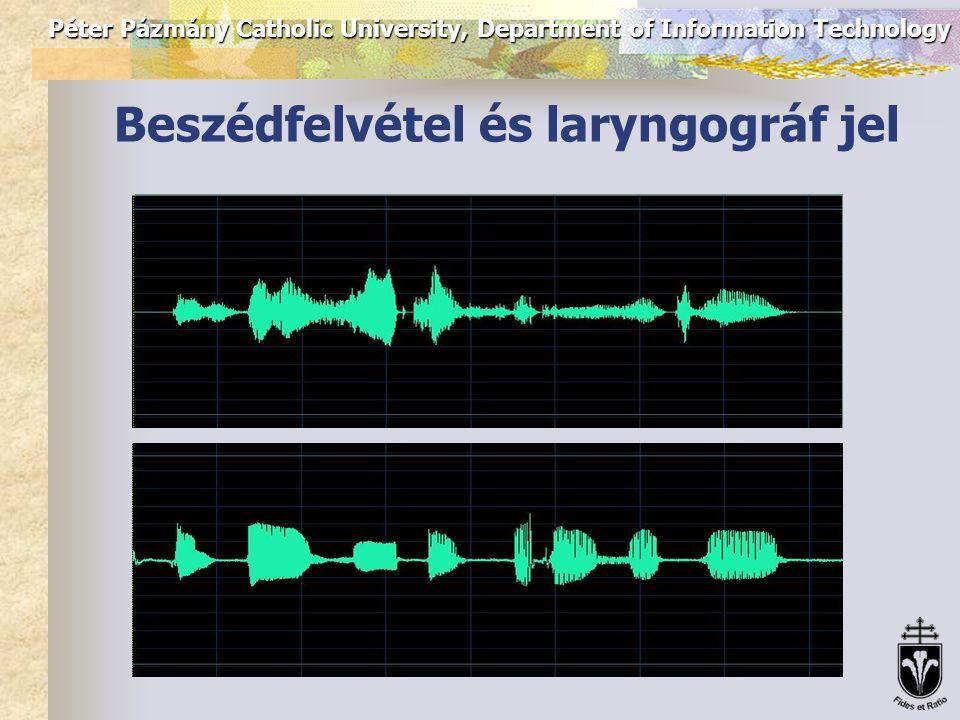 Péter Pázmány Catholic University, Department of Information Technology A kiértékelés adatbázisa Pitch detektor algoritmusok kiértékelésére olyan beszéd adatbázisokat lehet használni, melyekben a zöngés-zöngétlen szakaszok ill.