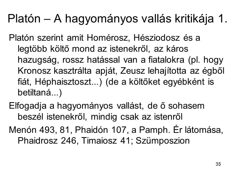 35 Platón – A hagyományos vallás kritikája 1.