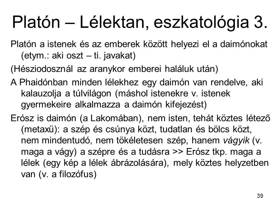 39 Platón – Lélektan, eszkatológia 3.