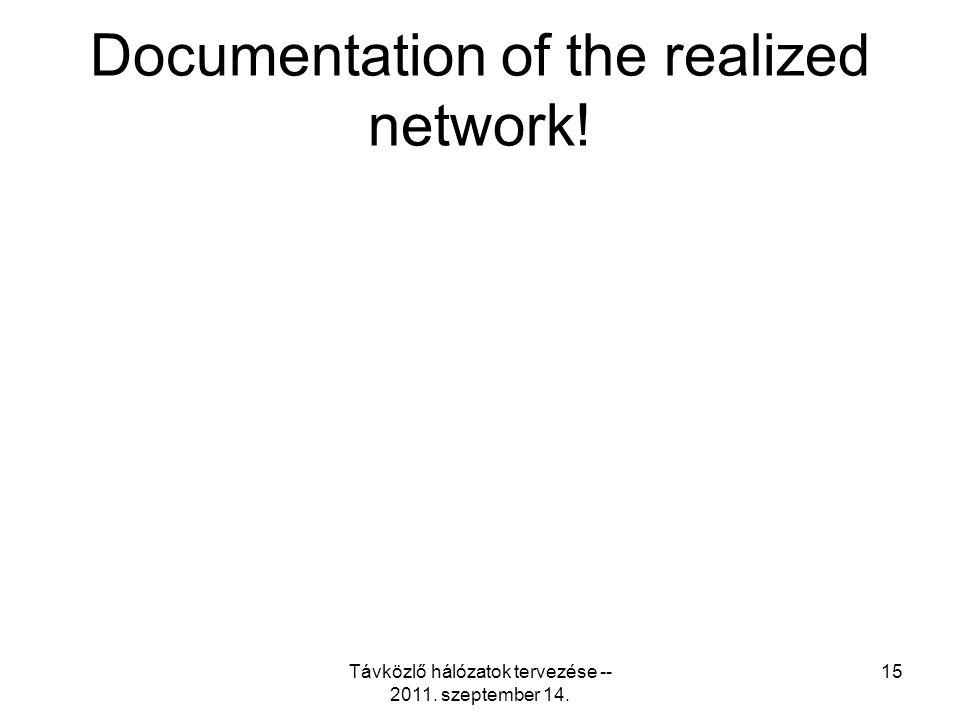 Távközlő hálózatok tervezése -- 2011. szeptember 14. 15 Documentation of the realized network!