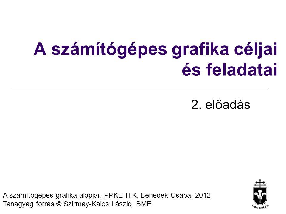 A számítógépes grafika alapjai, PPKE-ITK, Benedek Csaba, 2012 Tanagyag forrás © Szirmay-Kalos László, BME A számítógépes grafika céljai és feladatai 2