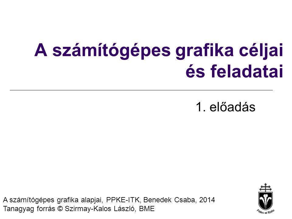 A számítógépes grafika alapjai, PPKE-ITK, Benedek Csaba, 2014 Tanagyag forrás © Szirmay-Kalos László, BME A számítógépes grafika céljai és feladatai 1