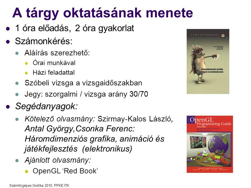 Számítógépes Grafika 2010, PPKE ITK A tárgy oktatásának menete 1 óra előadás, 2 óra gyakorlat Számonkérés: Aláírás szerezhető: Órai munkával Házi fela