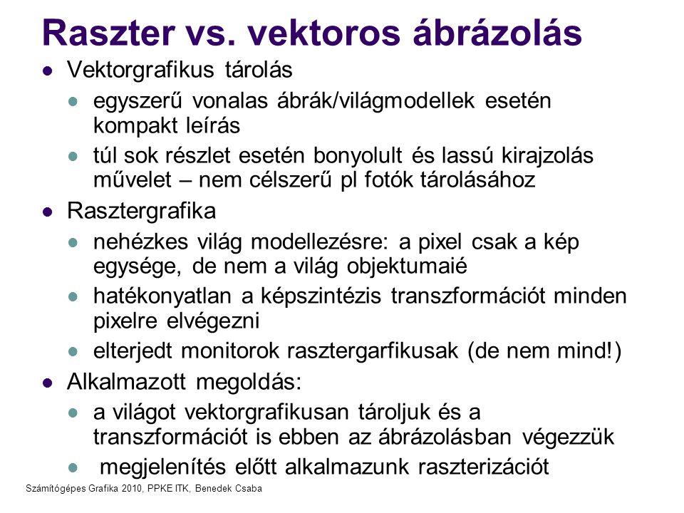 Számítógépes Grafika 2010, PPKE ITK, Benedek Csaba Raszter vs. vektoros ábrázolás Vektorgrafikus tárolás egyszerű vonalas ábrák/világmodellek esetén k