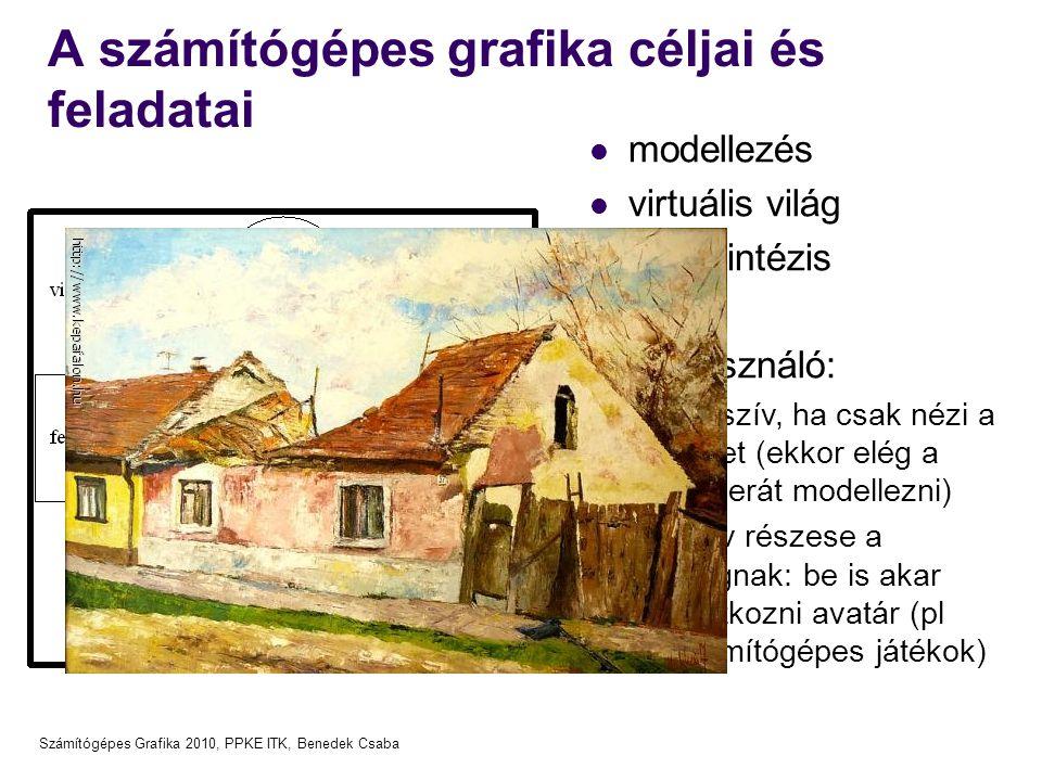 Számítógépes Grafika 2010, PPKE ITK, Benedek Csaba A számítógépes grafika céljai és feladatai modellezés virtuális világ képszintézis Felhasználó: pas