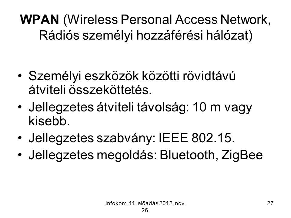 Infokom. 11. előadás 2012. nov. 26. 27 WPAN (Wireless Personal Access Network, Rádiós személyi hozzáférési hálózat) Személyi eszközök közötti rövidtáv