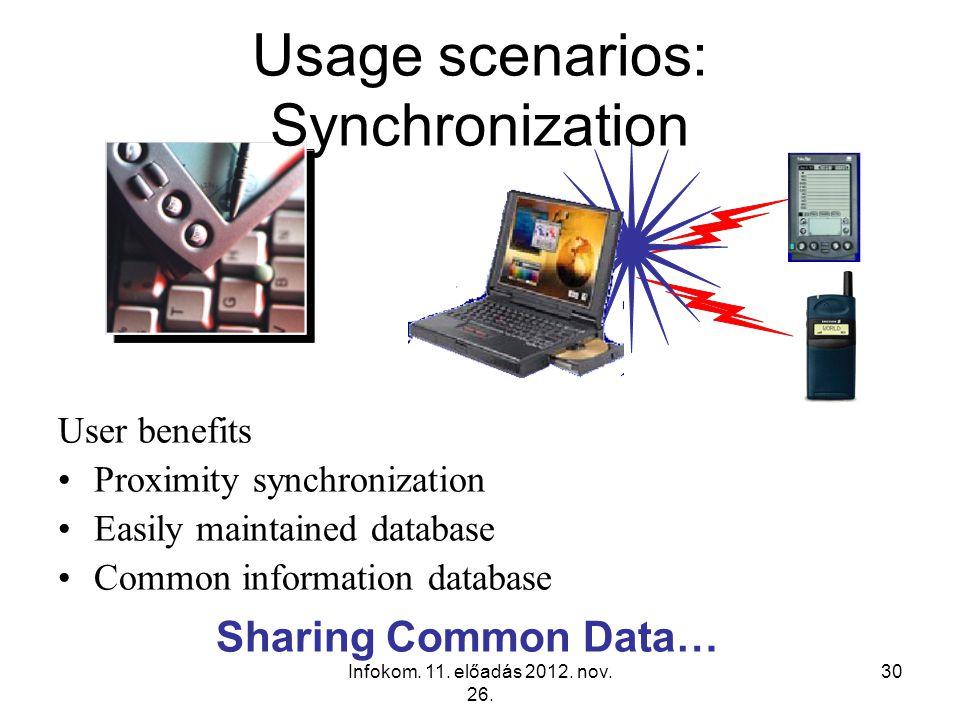 Infokom. 11. előadás 2012. nov. 26. 30 Sharing Common Data… Usage scenarios: Synchronization User benefits Proximity synchronization Easily maintained