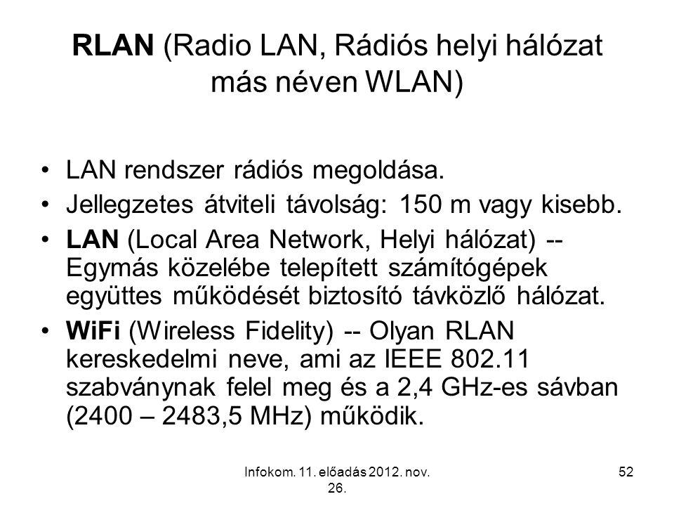 Infokom. 11. előadás 2012. nov. 26. 52 RLAN (Radio LAN, Rádiós helyi hálózat más néven WLAN) LAN rendszer rádiós megoldása. Jellegzetes átviteli távol
