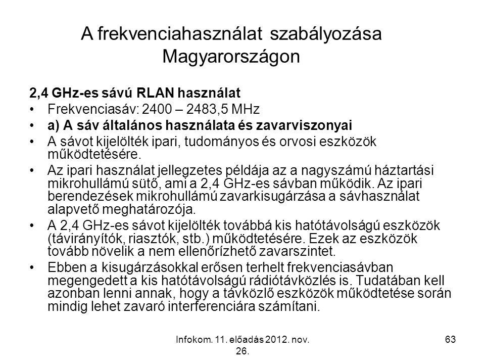 Infokom. 11. előadás 2012. nov. 26. 63 2,4 GHz-es sávú RLAN használat Frekvenciasáv: 2400 – 2483,5 MHz a) A sáv általános használata és zavarviszonyai