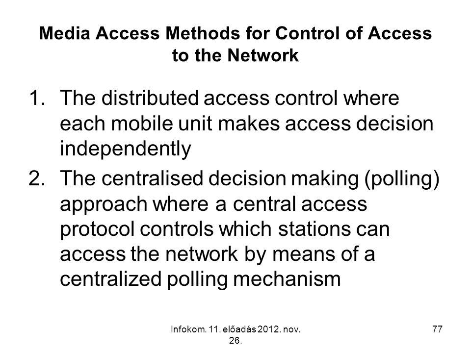 Infokom. 11. előadás 2012. nov. 26. 77 Media Access Methods for Control of Access to the Network 1.The distributed access control where each mobile un