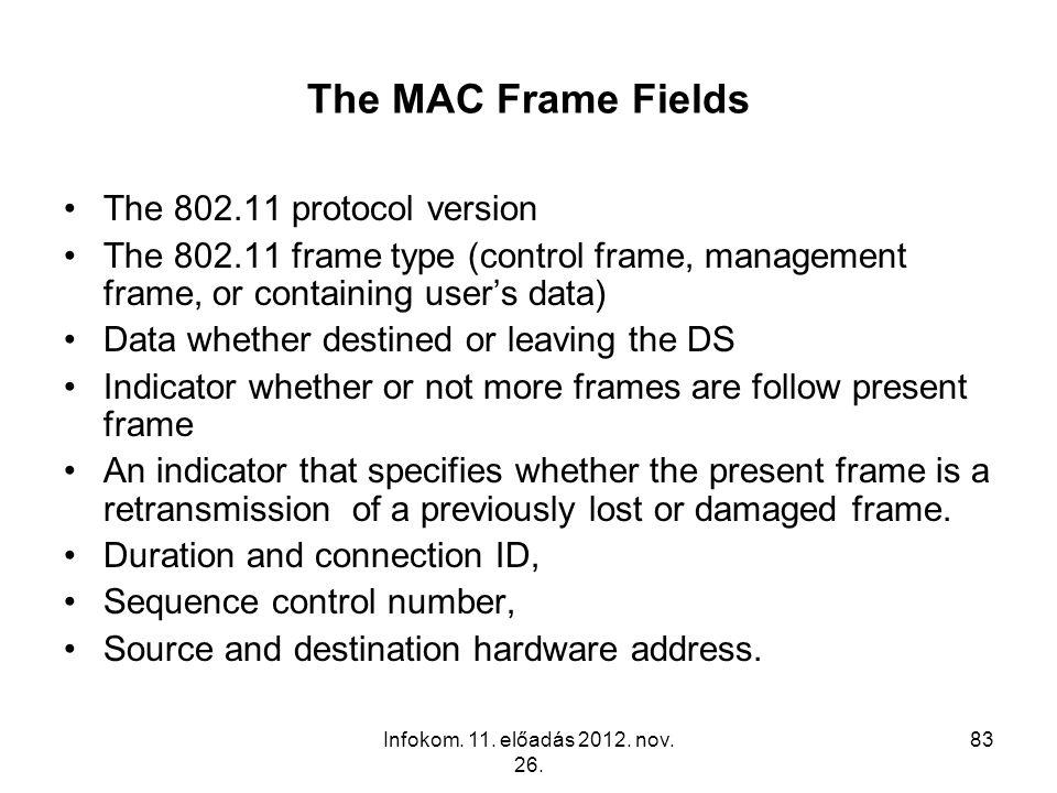 Infokom. 11. előadás 2012. nov. 26. 83 The MAC Frame Fields The 802.11 protocol version The 802.11 frame type (control frame, management frame, or con