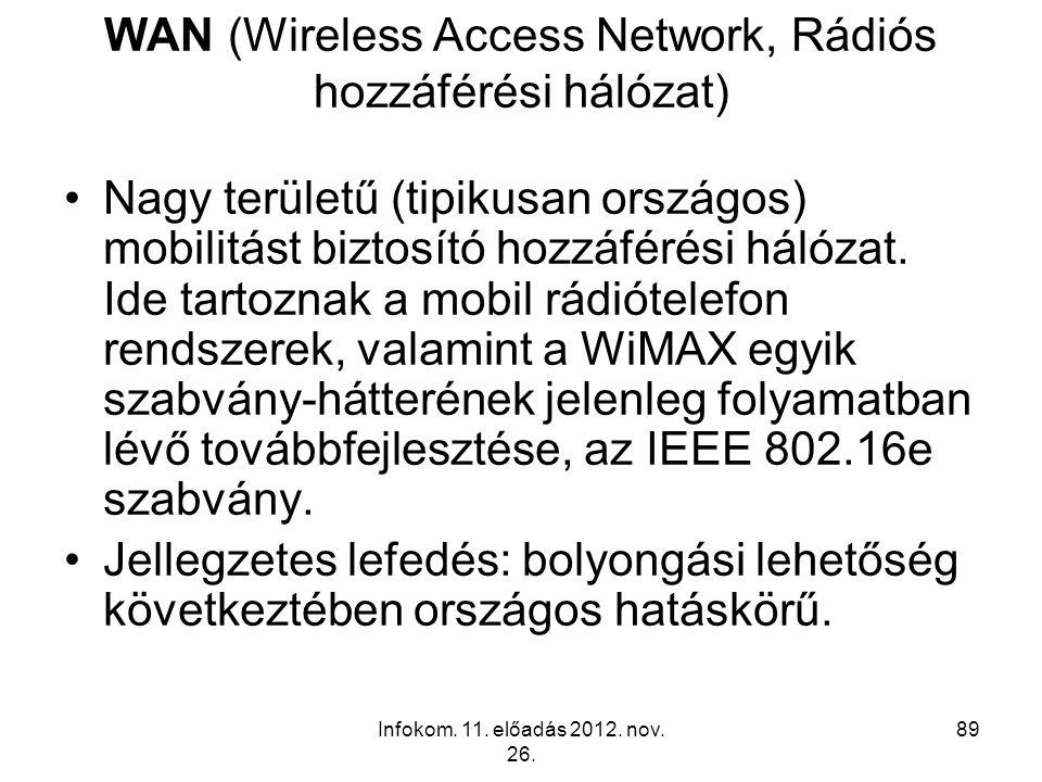 Infokom. 11. előadás 2012. nov. 26. 89 WAN (Wireless Access Network, Rádiós hozzáférési hálózat) Nagy területű (tipikusan országos) mobilitást biztosí