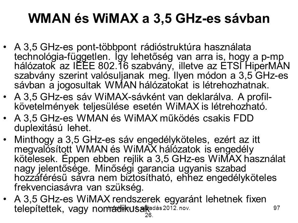 Infokom. 11. előadás 2012. nov. 26. 97 WMAN és WiMAX a 3,5 GHz-es sávban A 3,5 GHz-es pont-többpont rádióstruktúra használata technológia-független. Í