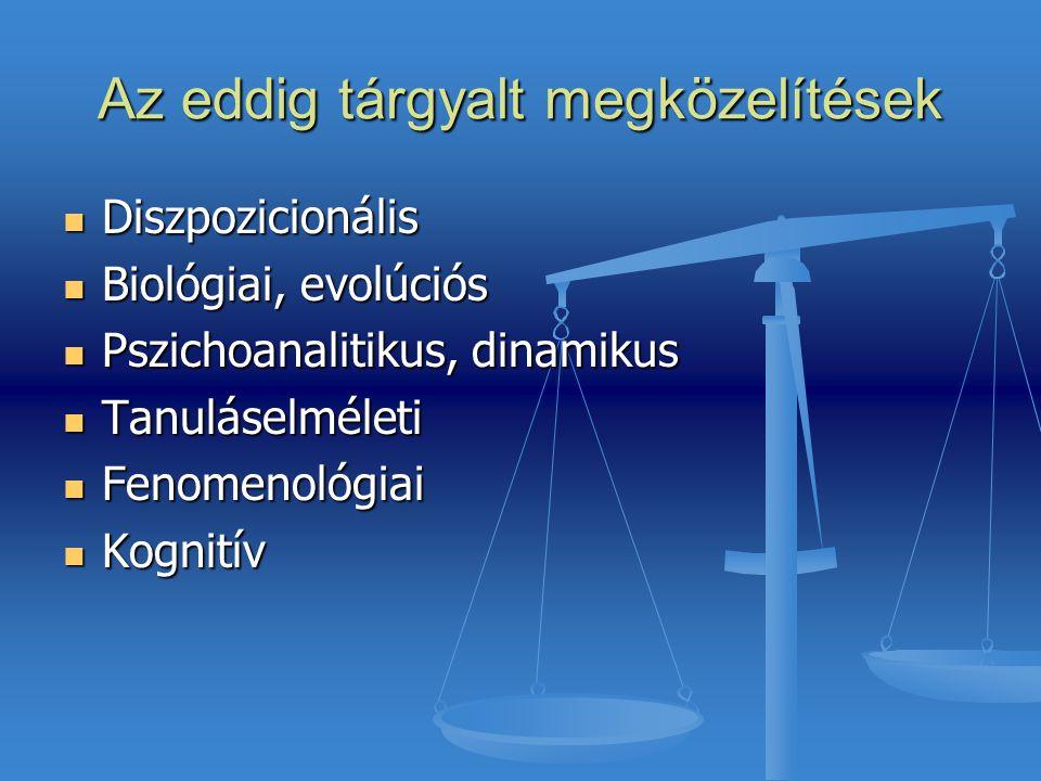 Az eddig tárgyalt megközelítések Diszpozicionális Diszpozicionális Biológiai, evolúciós Biológiai, evolúciós Pszichoanalitikus, dinamikus Pszichoanali