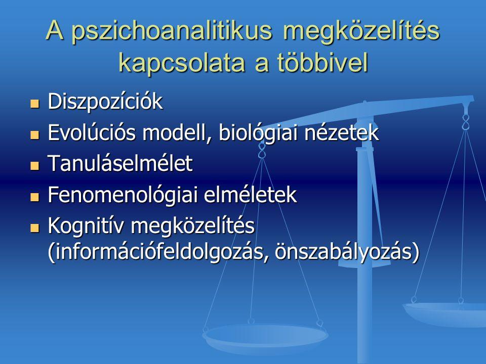 A pszichoanalitikus megközelítés kapcsolata a többivel Diszpozíciók Diszpozíciók Evolúciós modell, biológiai nézetek Evolúciós modell, biológiai nézet