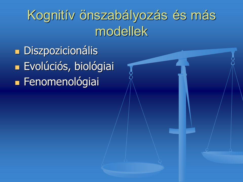 Kognitív önszabályozás és más modellek Diszpozicionális Diszpozicionális Evolúciós, biológiai Evolúciós, biológiai Fenomenológiai Fenomenológiai