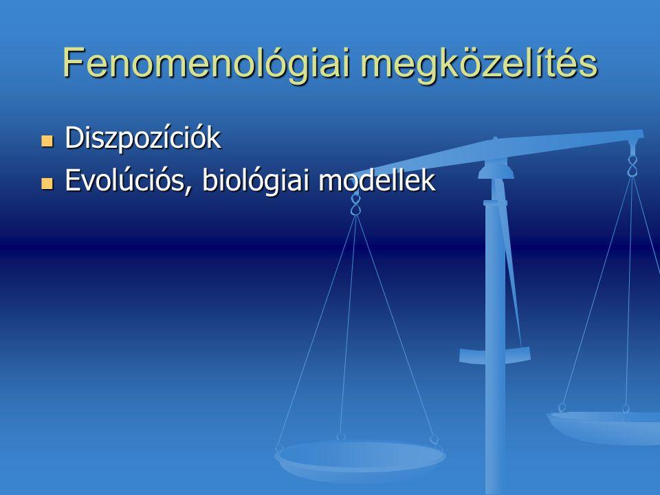 Fenomenológiai megközelítés Diszpozíciók Diszpozíciók Evolúciós, biológiai modellek Evolúciós, biológiai modellek