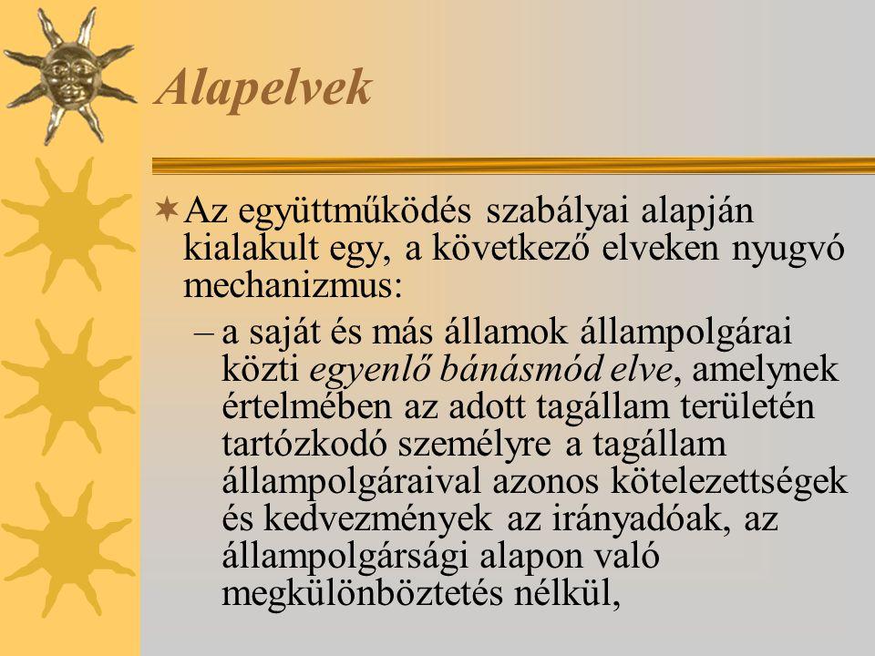 Alapelvek  Az együttműködés szabályai alapján kialakult egy, a következő elveken nyugvó mechanizmus: –a saját és más államok állampolgárai közti egye