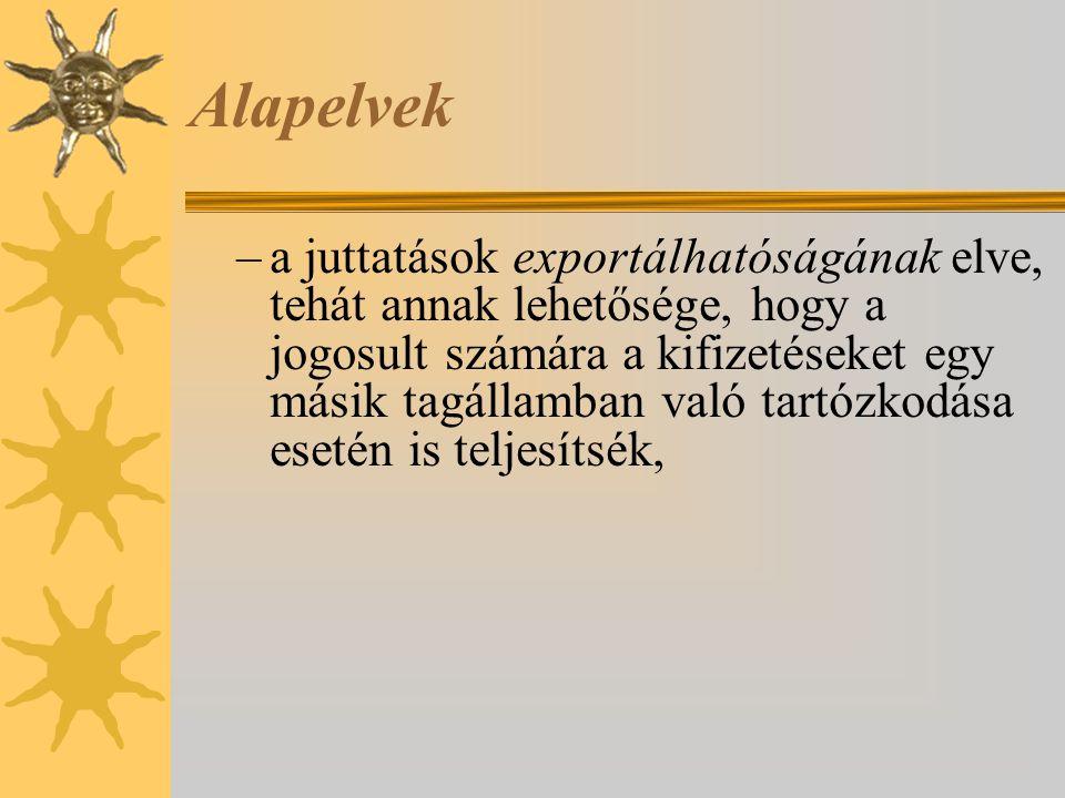 Alapelvek –a juttatások exportálhatóságának elve, tehát annak lehetősége, hogy a jogosult számára a kifizetéseket egy másik tagállamban való tartózkod