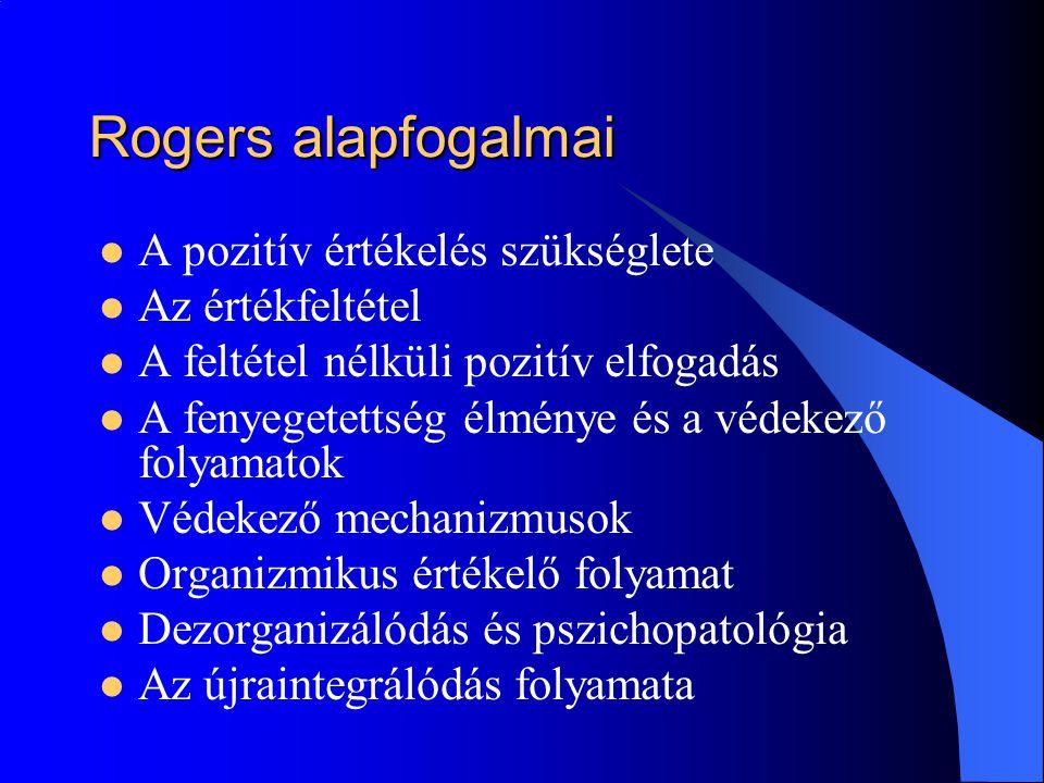 Rogers alapfogalmai A pozitív értékelés szükséglete Az értékfeltétel A feltétel nélküli pozitív elfogadás A fenyegetettség élménye és a védekező folyamatok Védekező mechanizmusok Organizmikus értékelő folyamat Dezorganizálódás és pszichopatológia Az újraintegrálódás folyamata