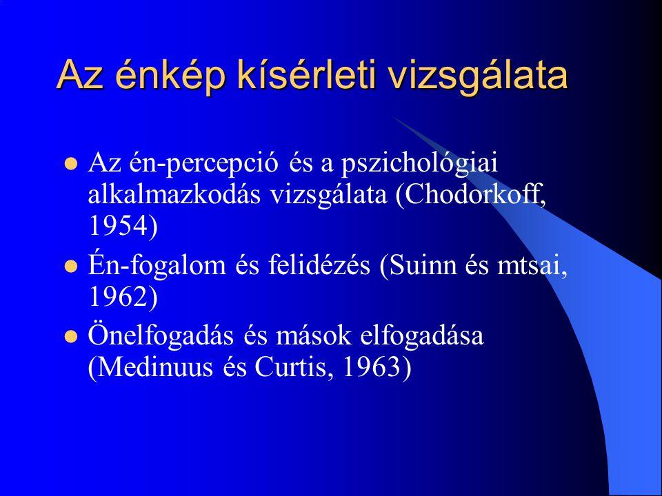 Az énkép kísérleti vizsgálata Az én-percepció és a pszichológiai alkalmazkodás vizsgálata (Chodorkoff, 1954) Én-fogalom és felidézés (Suinn és mtsai, 1962) Önelfogadás és mások elfogadása (Medinuus és Curtis, 1963)