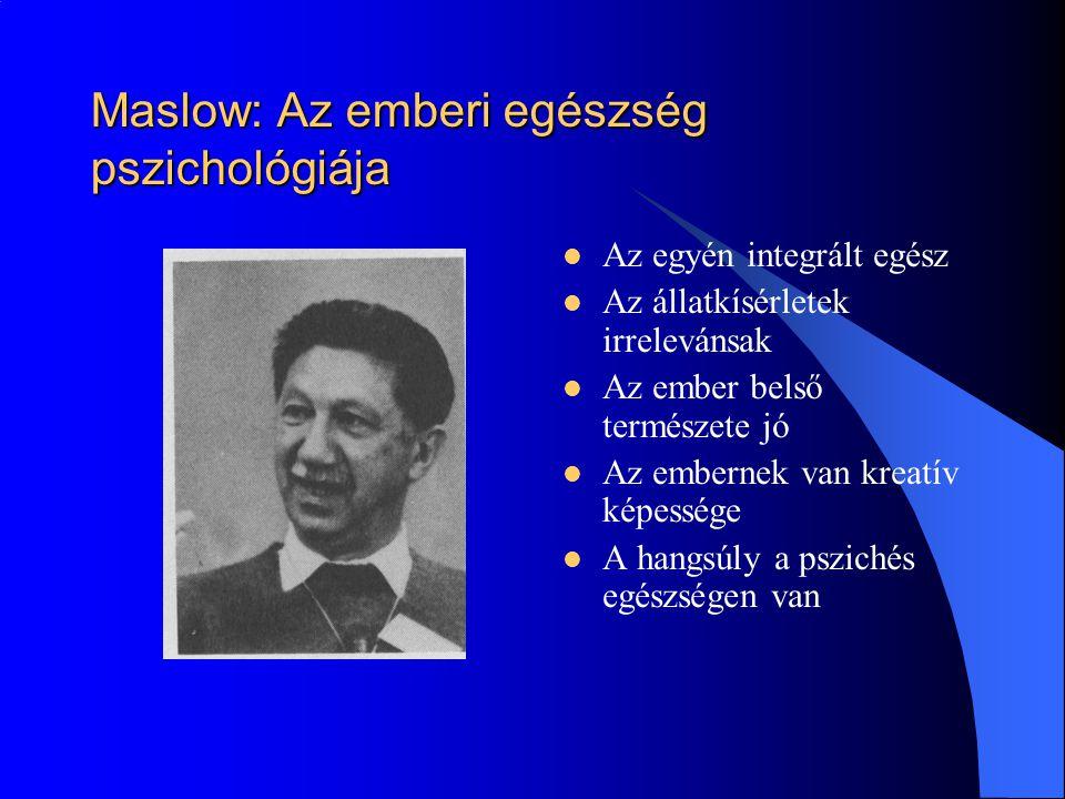 Maslow: Az emberi egészség pszichológiája Az egyén integrált egész Az állatkísérletek irrelevánsak Az ember belső természete jó Az embernek van kreatív képessége A hangsúly a pszichés egészségen van