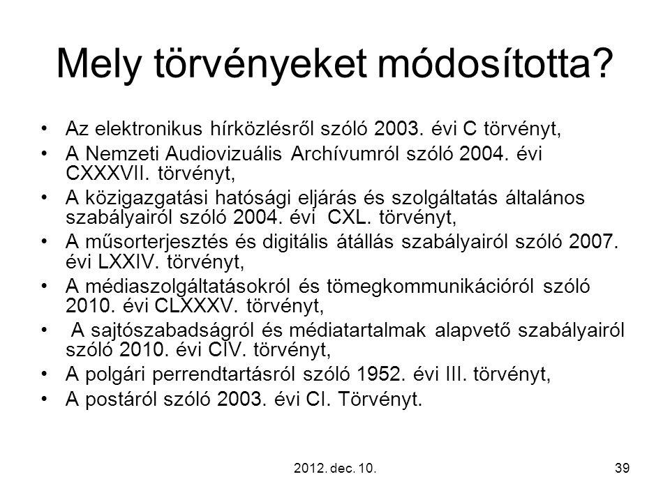 Mely törvényeket módosította? Az elektronikus hírközlésről szóló 2003. évi C törvényt, A Nemzeti Audiovizuális Archívumról szóló 2004. évi CXXXVII. tö