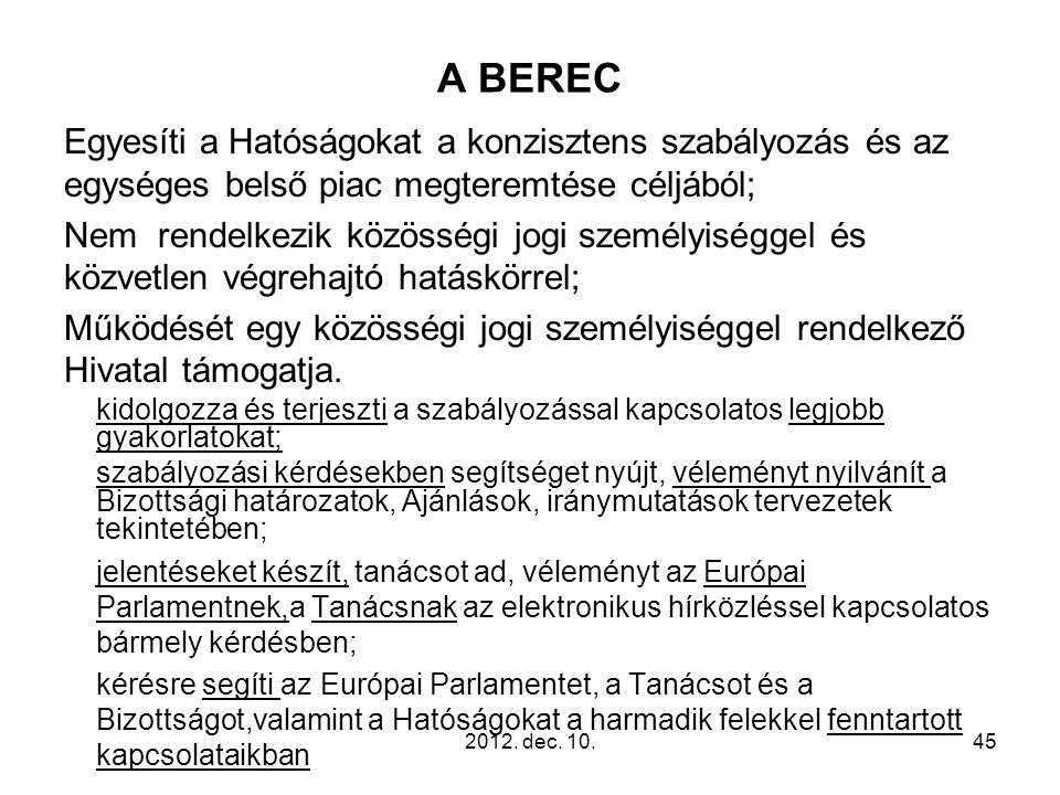 A BEREC Egyesíti a Hatóságokat a konzisztens szabályozás és az egységes belső piac megteremtése céljából; Nem rendelkezik közösségi jogi személyiségge