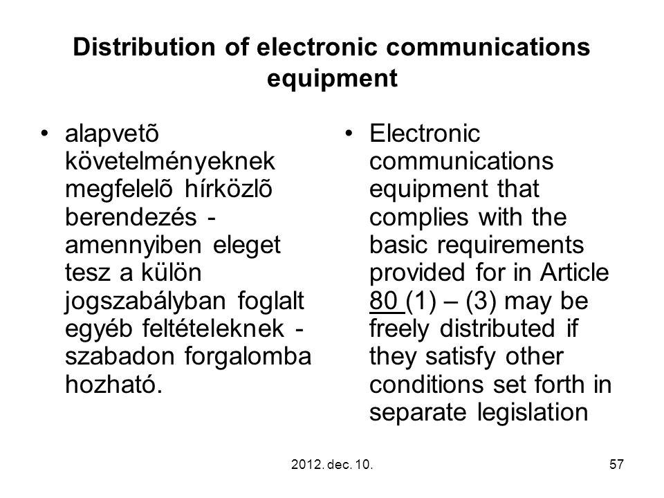 2012. dec. 10.57 Distribution of electronic communications equipment alapvetõ követelményeknek megfelelõ hírközlõ berendezés - amennyiben eleget tesz