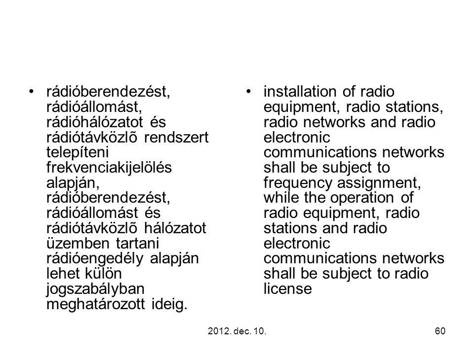 2012. dec. 10.60 rádióberendezést, rádióállomást, rádióhálózatot és rádiótávközlõ rendszert telepíteni frekvenciakijelölés alapján, rádióberendezést,
