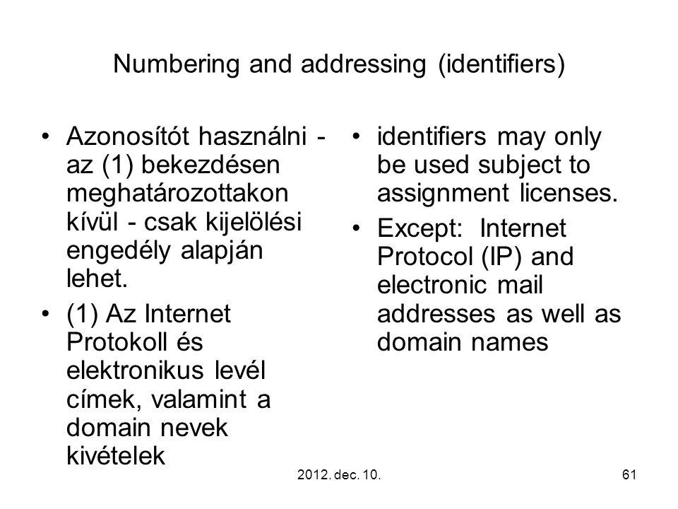 2012. dec. 10.61 Numbering and addressing (identifiers) Azonosítót használni - az (1) bekezdésen meghatározottakon kívül - csak kijelölési engedély al