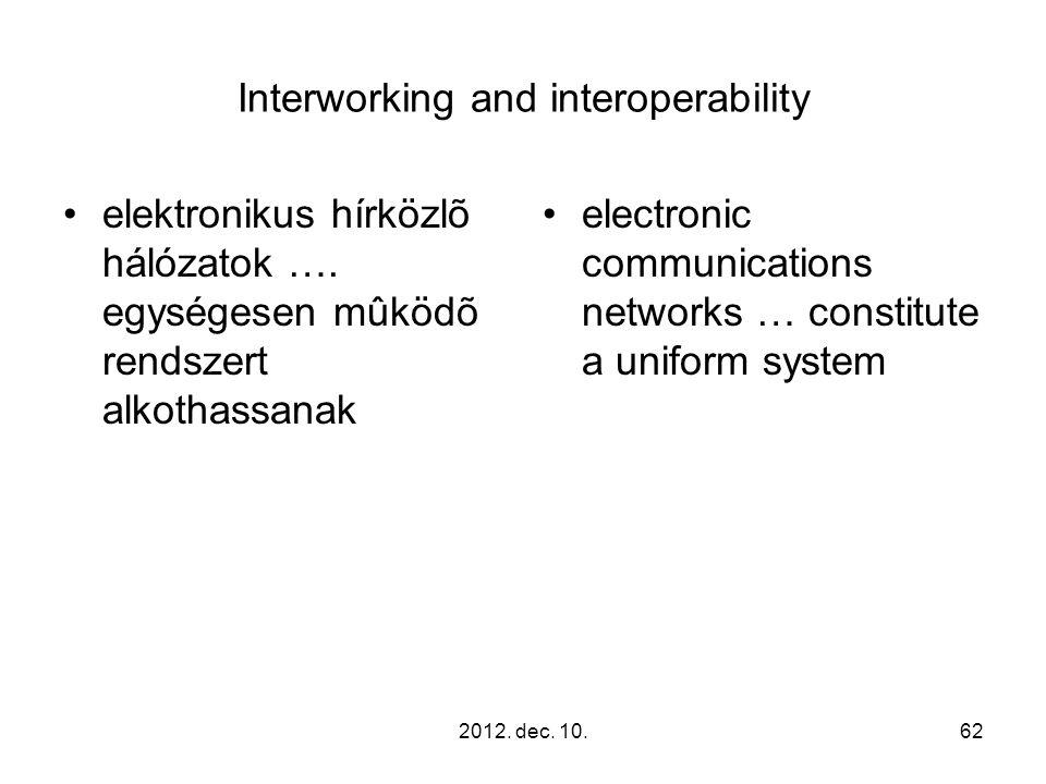 2012. dec. 10.62 Interworking and interoperability elektronikus hírközlõ hálózatok …. egységesen mûködõ rendszert alkothassanak electronic communicati