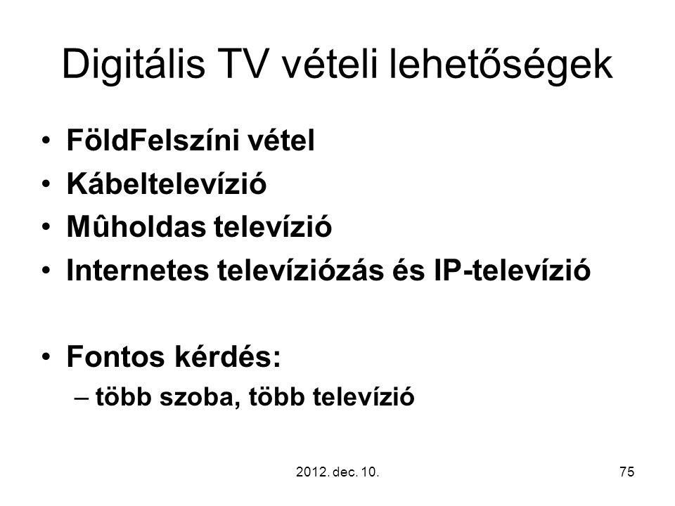 Digitális TV vételi lehetőségek FöldFelszíni vétel Kábeltelevízió Mûholdas televízió Internetes televíziózás és IP-televízió Fontos kérdés: –több szoba, több televízió 2012.