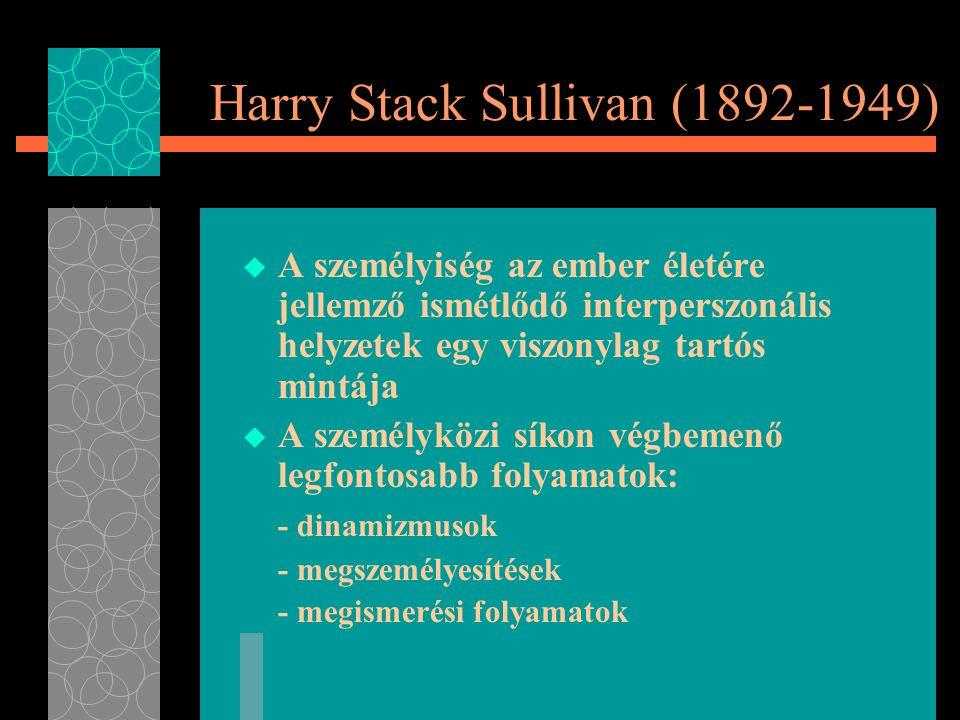 Harry Stack Sullivan (1892-1949)  A személyiség az ember életére jellemző ismétlődő interperszonális helyzetek egy viszonylag tartós mintája  A személyközi síkon végbemenő legfontosabb folyamatok: - dinamizmusok - megszemélyesítések - megismerési folyamatok
