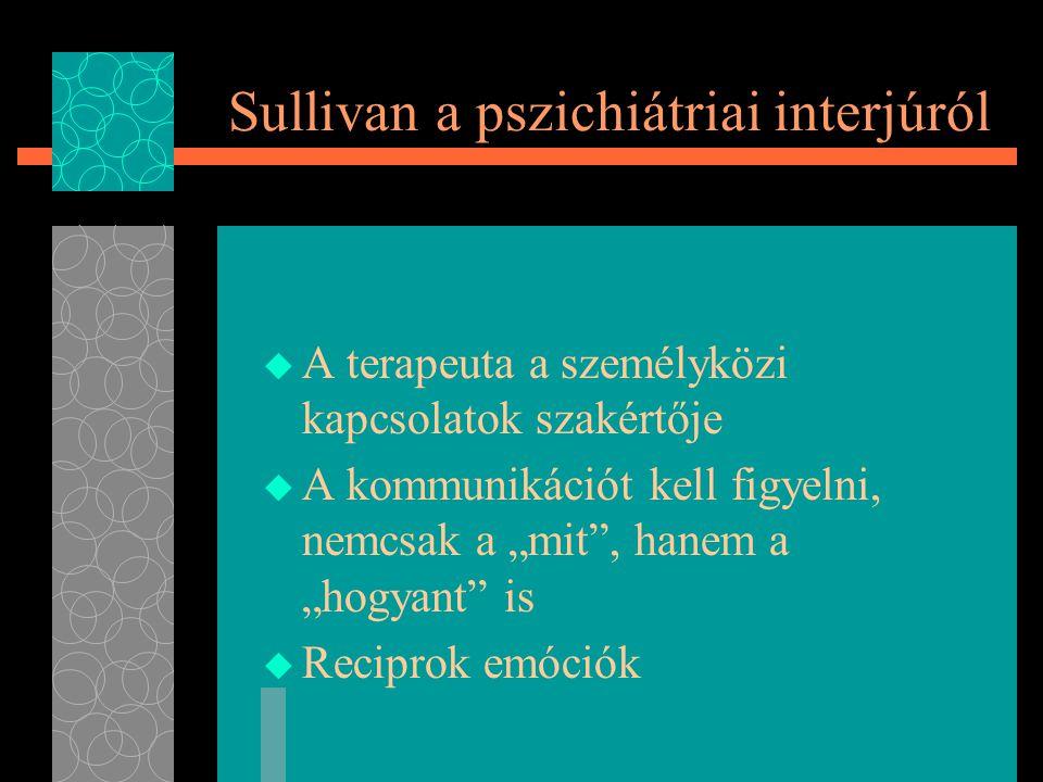 """Sullivan a pszichiátriai interjúról  A terapeuta a személyközi kapcsolatok szakértője  A kommunikációt kell figyelni, nemcsak a """"mit , hanem a """"hogyant is  Reciprok emóciók"""