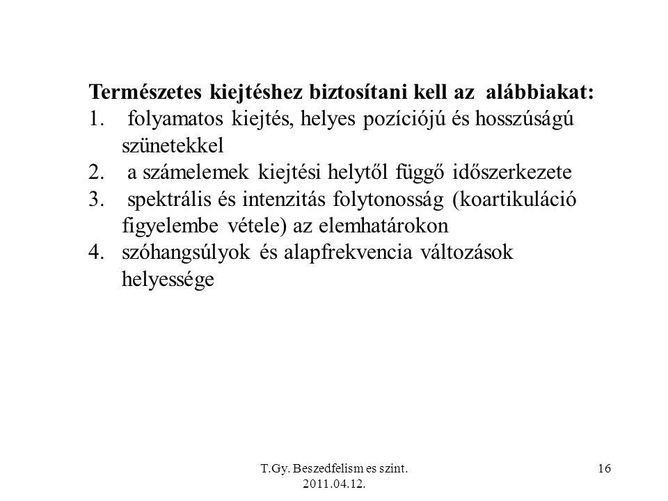 T.Gy. Beszedfelism es szint. 2011.04.12.