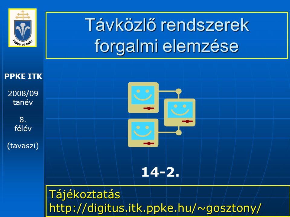 PPKE ITK 2008/09 tanév 8. félév (tavaszi) Távközlő rendszerek forgalmi elemzése Tájékoztatás http://digitus.itk.ppke.hu/~gosztony/ 14-2.