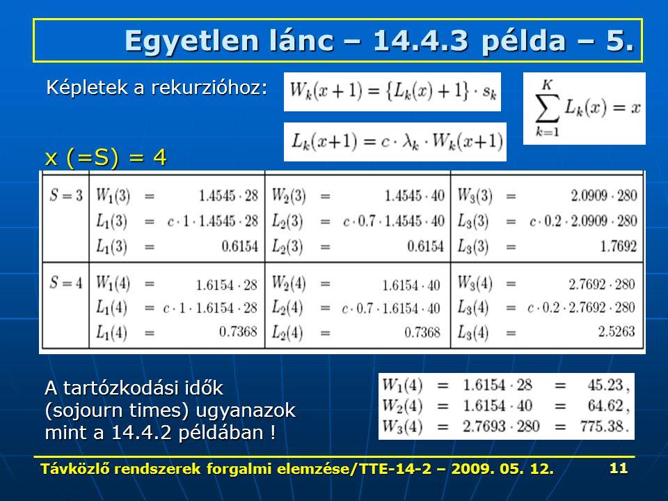 Távközlő rendszerek forgalmi elemzése/TTE-14-2 – 2009. 05. 12. 11 Egyetlen lánc – 14.4.3 példa – 5. Képletek a rekurzióhoz: x (=S) = 4 A tartózkodási