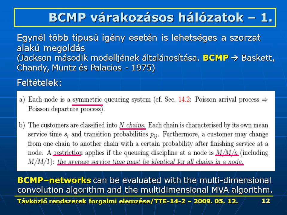 Távközlő rendszerek forgalmi elemzése/TTE-14-2 – 2009. 05. 12. 12 BCMP várakozásos hálózatok – 1. Egynél több típusú igény esetén is lehetséges a szor